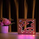 """Світильник нічник ArtEco Light з дерева LED """"Пес та пташки"""" з пультом та регулюванням кольору, подвійний RGB, фото 8"""