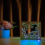 """Світильник нічник ArtEco Light з дерева LED """"Пес та пташки"""" з пультом та регулюванням кольору, подвійний RGB, фото 9"""