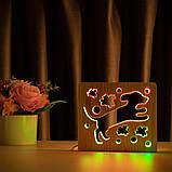 """Світильник нічник ArtEco Light з дерева LED """"Пес та пташки"""" з пультом та регулюванням кольору, подвійний RGB, фото 10"""