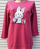 Женская кашемировая пижама Теплая пижама из натуральной ткани Зайчик L, фото 2