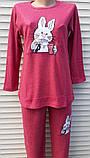 Женская кашемировая пижама Теплая пижама из натуральной ткани Зайчик L, фото 3