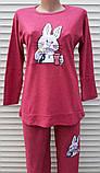Женская кашемировая пижама Теплая пижама из натуральной ткани Зайчик L, фото 4