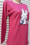 Женская кашемировая пижама Теплая пижама из натуральной ткани Зайчик L, фото 6