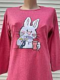 Женская кашемировая пижама Теплая пижама из натуральной ткани Зайчик L, фото 8