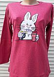 Женская кашемировая пижама Теплая пижама из натуральной ткани Зайчик L, фото 9
