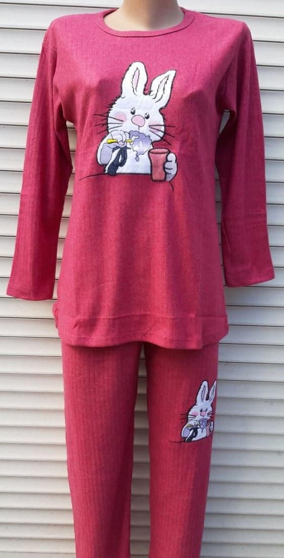 Жіноча кашемірова піжама Тепла піжама з натуральної тканини Зайчик М