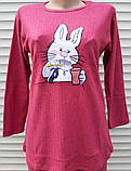 Жіноча кашемірова піжама Тепла піжама з натуральної тканини Зайчик М, фото 5