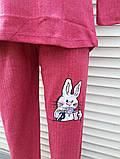 Жіноча кашемірова піжама Тепла піжама з натуральної тканини Зайчик М, фото 6