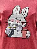 Жіноча кашемірова піжама Тепла піжама з натуральної тканини Зайчик М, фото 7