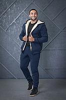 Зимний теплый спортивный костюм мужской на овчине, утепленный мужской костюм на меху Разные цвета