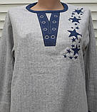 Женская кашемировая пижама Теплая пижама из натуральной ткани Синие звезды M, фото 7