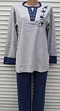 Женская кашемировая пижама Теплая пижама из натуральной ткани Синие звезды M, фото 4