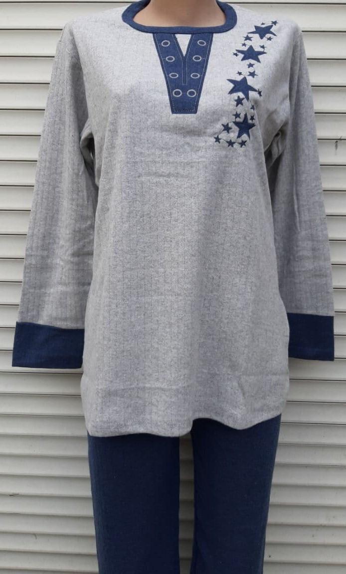 Женская кашемировая пижама Теплая пижама из натуральной ткани Синие звезды M