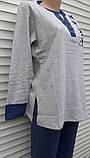 Женская кашемировая пижама Теплая пижама из натуральной ткани Синие звезды M, фото 10