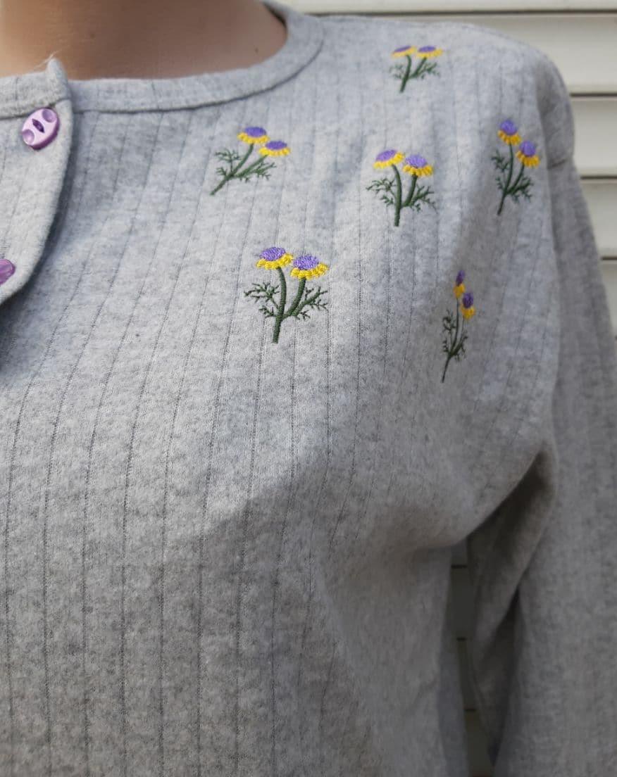 Женская кашемировая пижама Теплая пижама из натуральной ткани Ромашки L