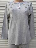 Женская кашемировая пижама Теплая пижама из натуральной ткани Ромашки L, фото 9