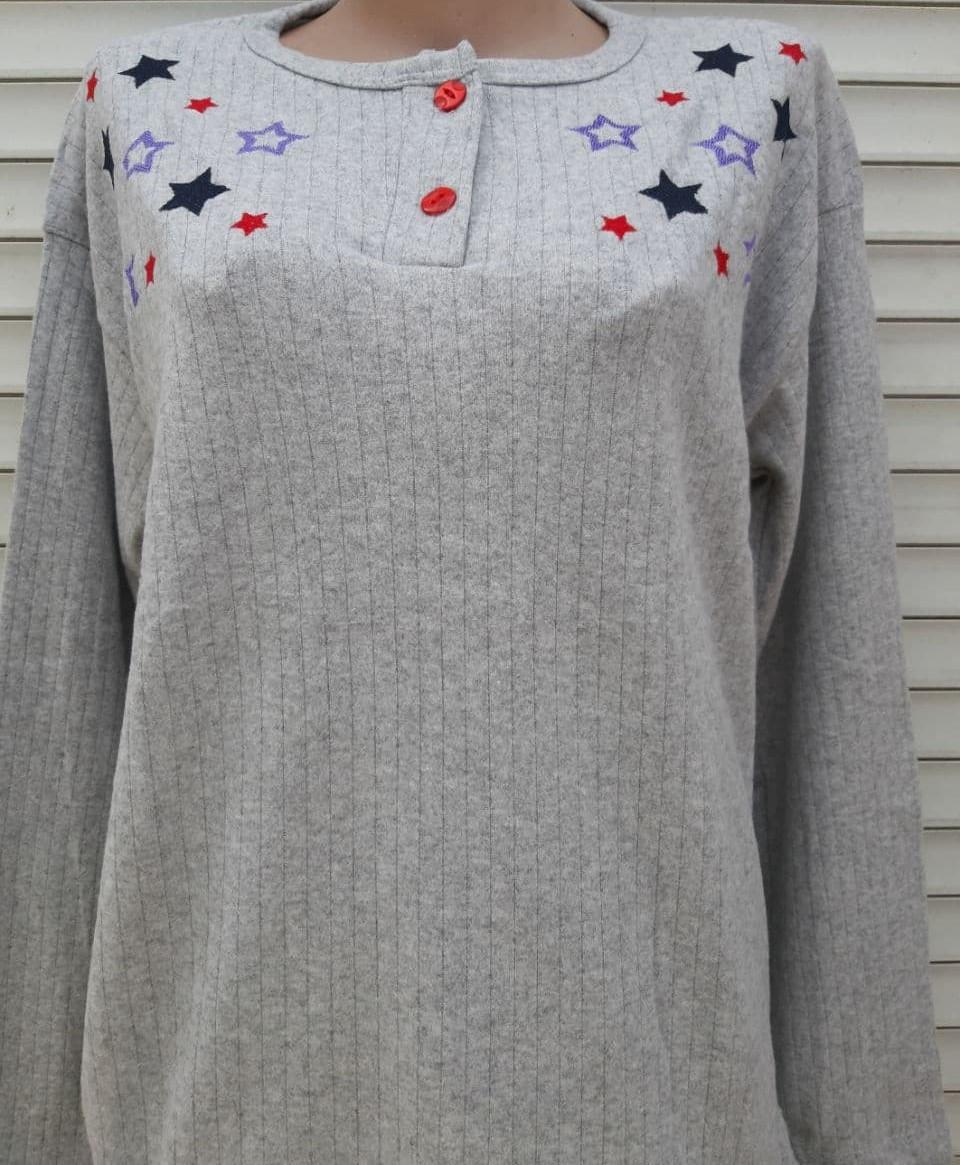Жіноча кашемірова піжама Тепла піжама з натуральної тканини Кольорові зірки М
