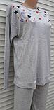 Жіноча кашемірова піжама Тепла піжама з натуральної тканини Кольорові зірки М, фото 7