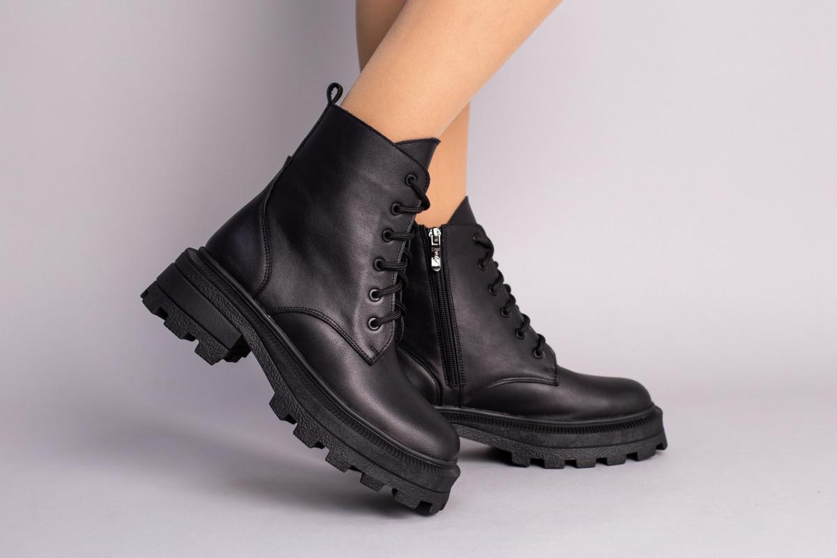 Ботинки женские кожаные черные