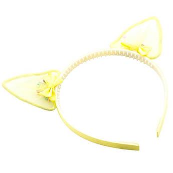 Обруч на голову Милые Ушки с бантиками STARLOOK желтый