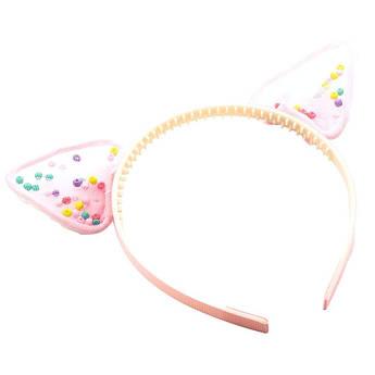 Обруч на голову Милые Ушки с бантиками STARLOOK нежно-розовый