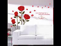 Наклейка виниловая на стену красная роза 120*75 см.