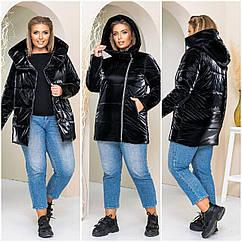 Куртка женская зимняя батал NOBILITAS 50 - 56 черная плащевка (арт. 21040)