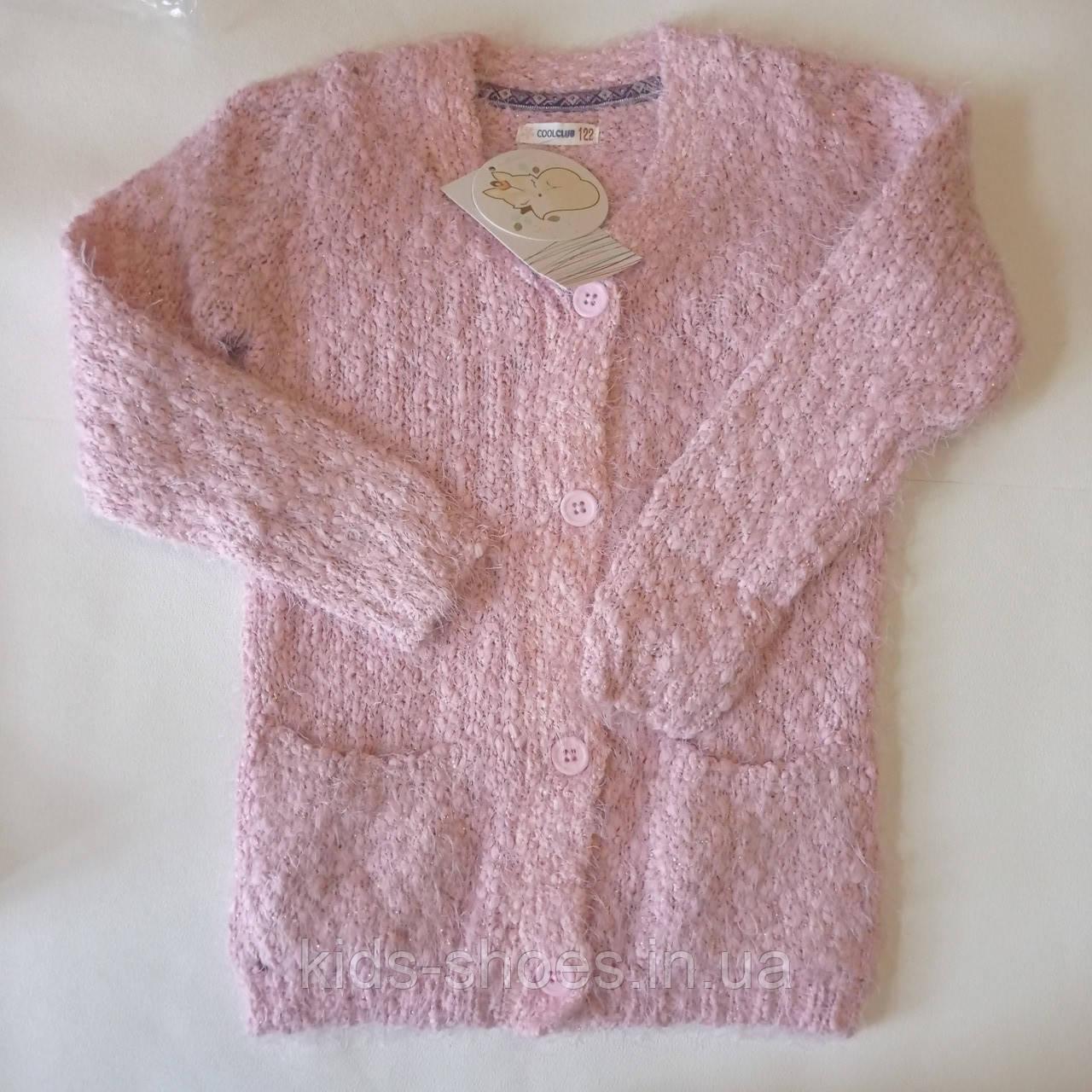 Детская вязаная кофта кардиган розовая для девочки 122 рост Cool Club