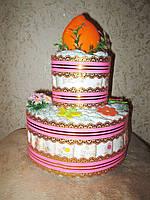 Торт из памперсов (подгузников) - подарок для малыша и его мамы