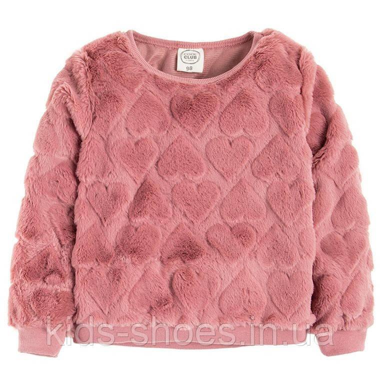 Дитячий теплий світшот пухнастик для дівчинки 122 рожевий Cool club