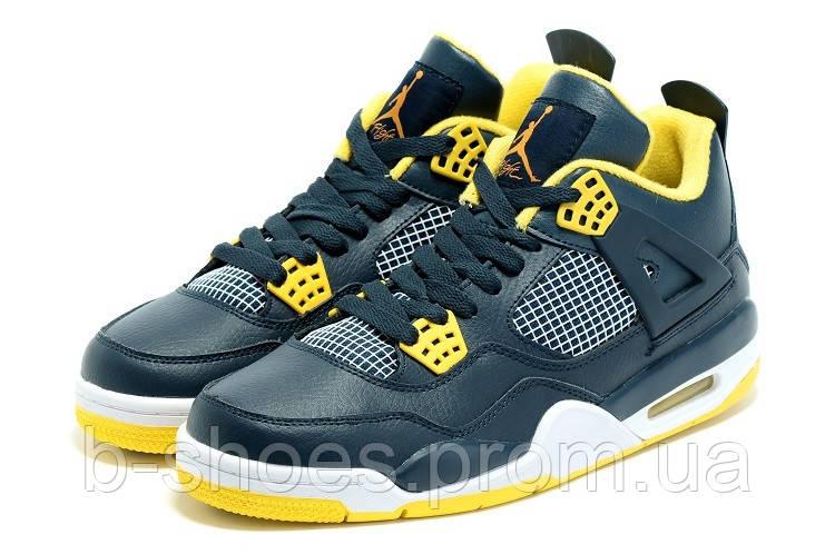 Мужские Баскетбольные кроссовки Air Jordan Retro 4 (Blue/Yellow/White)