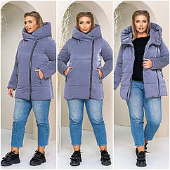 Куртка женская зимняя батал NOBILITAS 50 - 56 голубая плащевка (арт. 21040)