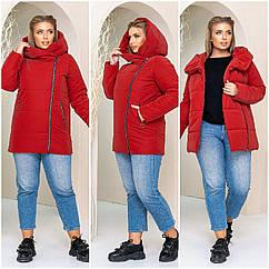 Куртка женская зимняя батал NOBILITAS 50 - 56 красная плащевка (арт. 21040)