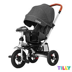 Велосипед трехколесный с родительской ручкой TILLY TRAVEL T-387/1 Темно-серый | Велосипед-коляска
