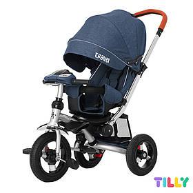 Велосипед трехколесный с родительской ручкой TILLY TRAVEL T-387/1 Синий лен | Велосипед-коляска