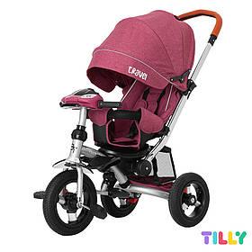Велосипед трехколесный с родительской ручкой TILLY TRAVEL T-387/1 Фиолетовый лен | Велосипед-коляска