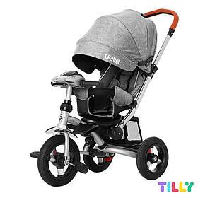 Велосипед трехколесный с родительской ручкой TILLY TRAVEL T-387/1 Серый лен | Велосипед-коляска