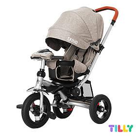 Велосипед трехколесный с родительской ручкой TILLY TRAVEL T-387/1 Бежевый лен | Велосипед-коляска