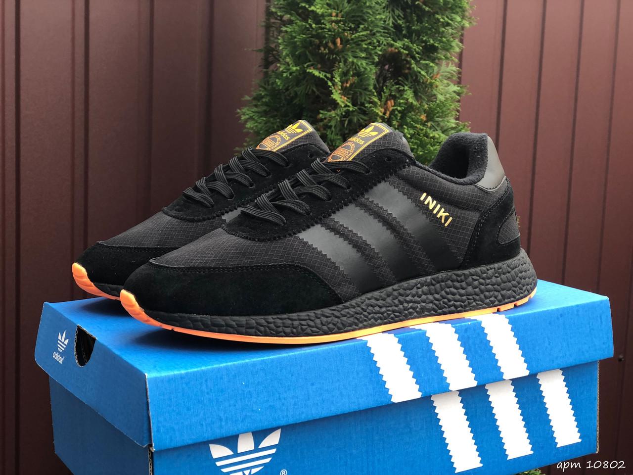Чоловічі кросівки Adidas Iniki (чорно-помаранчеві) В10802 крута термо взуття для хлопців