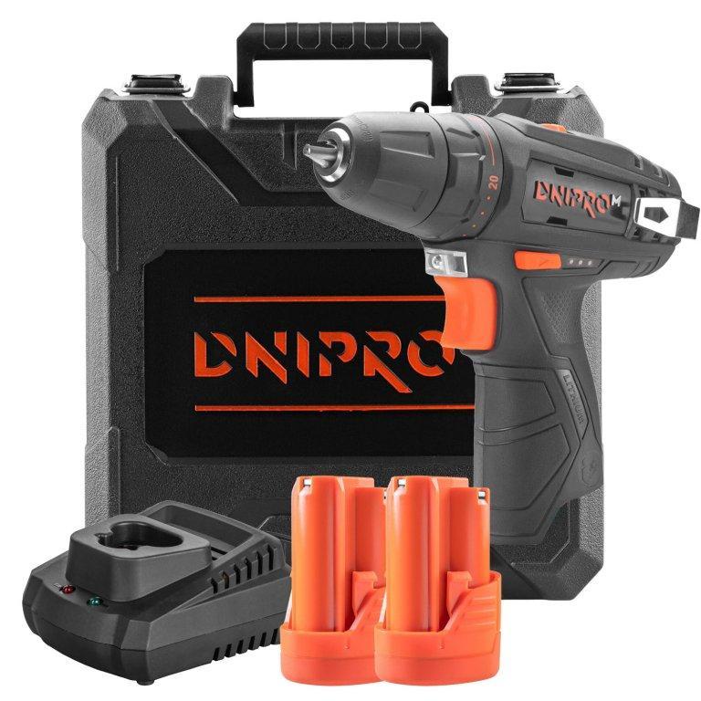 Акумуляторний дриль-шуруповерт Dnipro-M CD-12C + 2 батареї BP-122 + Зарядний пристрій FC-122 + Кейс