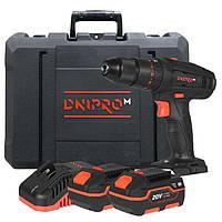 Акумуляторний дриль-шуруповерт Dnipro-M CD-200TH + 2 батареї BP-240 + Зарядний пристрій FC-230 + Кейс, фото 1