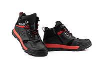 Підліткові черевики шкіряні зимові чорні-червоні Zangak 155 год,кр+че