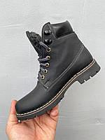 Підліткові черевики шкіряні зимові чорні Brand Т