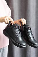 Підліткові черевики шкіряні зимові чорні Zangak 193 чл