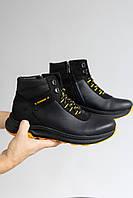 Підліткові черевики шкіряні зимові чорні Zangak 124/1 чф+жовтий
