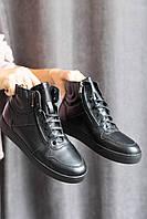 Підліткові черевики шкіряні зимові чорні Zangak 168 чл