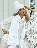 Шикарный комплект крупной вязки (шапка+шарф) от Kamea - Molly 54-60, белый