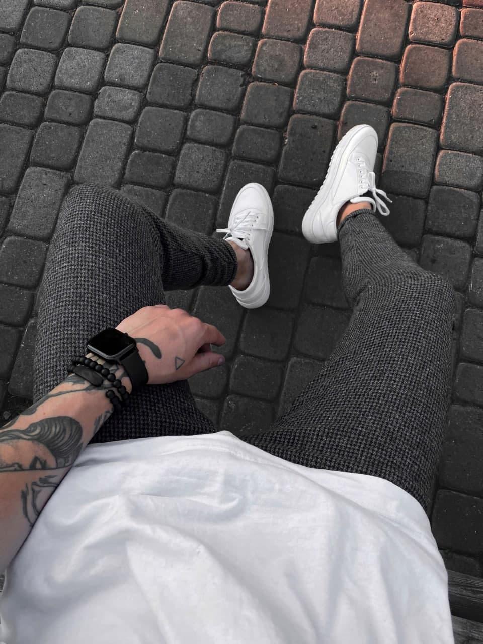 Мужские брюки стильные (темно-серые) качественные зауженные книзу su25
