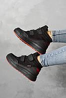Підліткові черевики шкіряні зимові чорні Monster ТЕР
