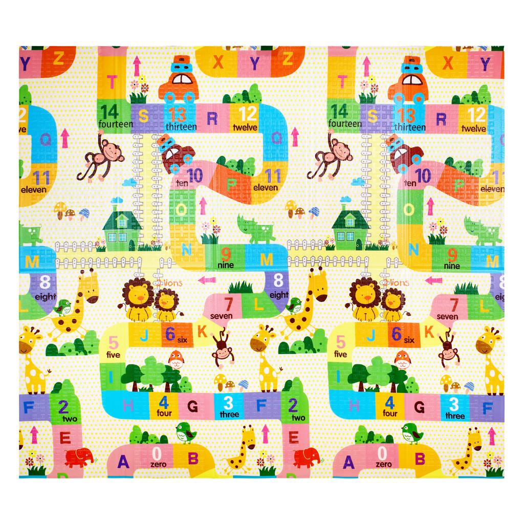 Дитячий килимок двосторонній слон/алфавіт XPE 200*180*1см